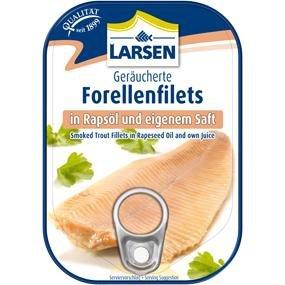 Larsen Røgede Ørredfileter I Egen Juice Og Vegetabilsk Olie 110 G