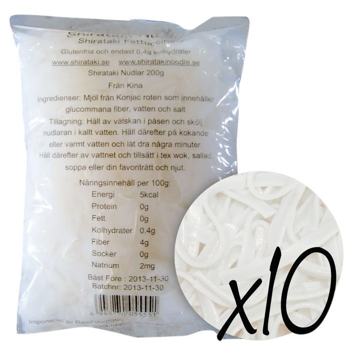 RawFoodShop 10 x Shirataki Fettuccine 200 g
