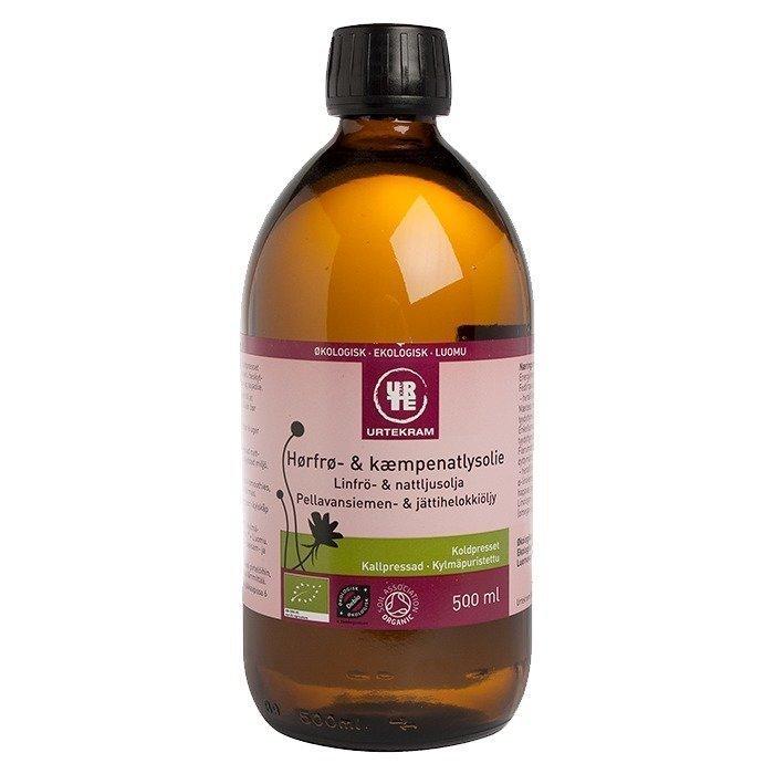 Urtekram Pellavansiemen- & jättihelokkiöljy Luomu 500 ml
